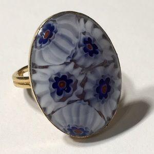 Murano Venetian Millefiori Style Glass GT Ring